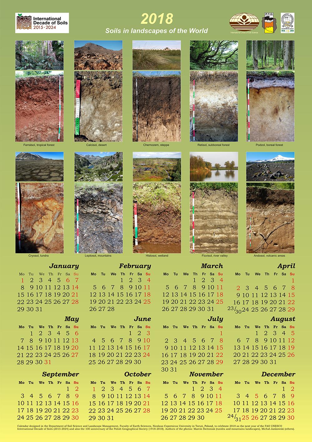 Kalendarz na rok 2018 – Gleby Świata