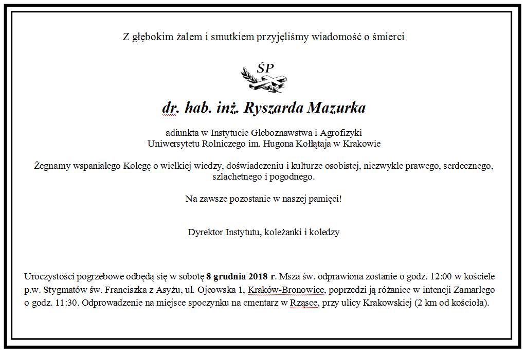 Zmarł dr hab. inż. Ryszard Mazurek