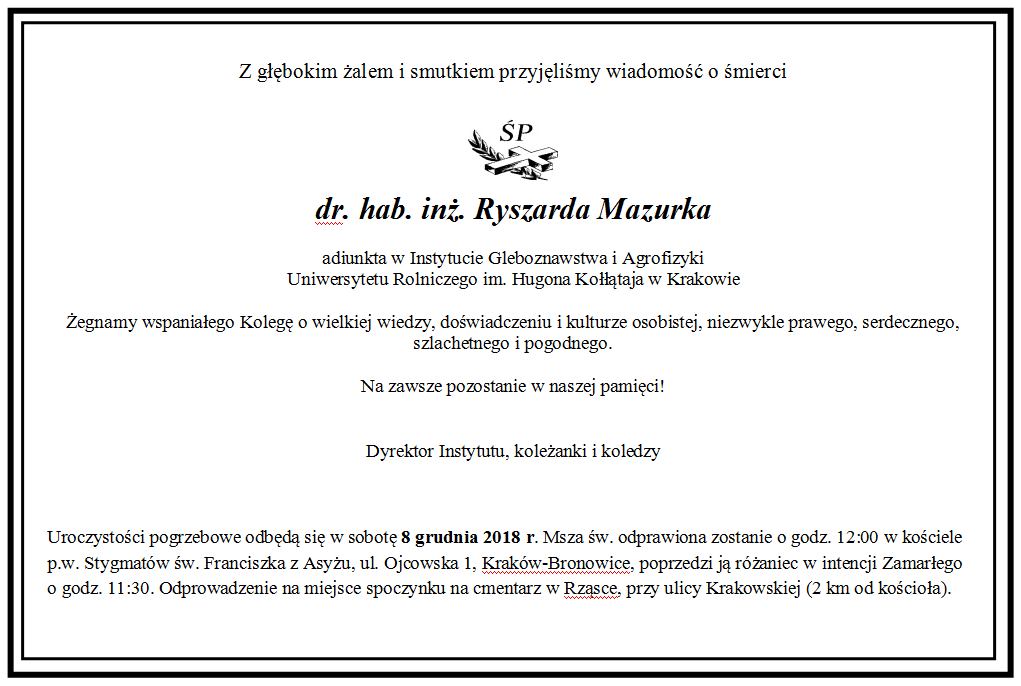 (Polski) Zmarł dr hab. inż. Ryszard Mazurek