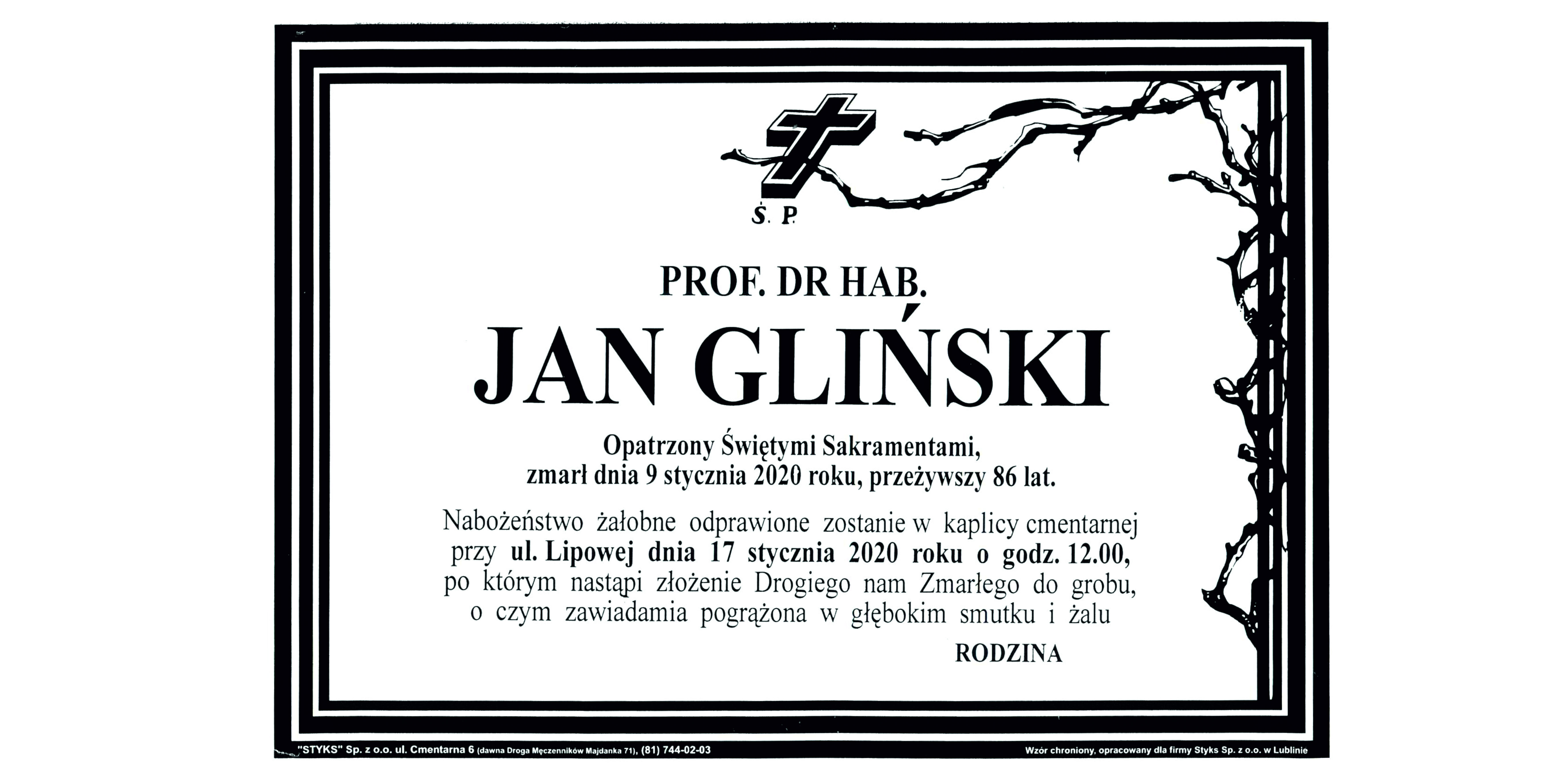 (Polski) Zmarł Prof. dr hab. Jan Gliński